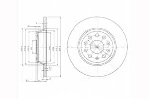 Disque de frein Essieu arrière, Ø: 286mm DELPHI