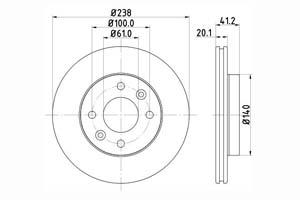 HELLA Disque de frein PRO Essieu avant, Ø: 238mm, ventilé de l'intérieur, revêtu